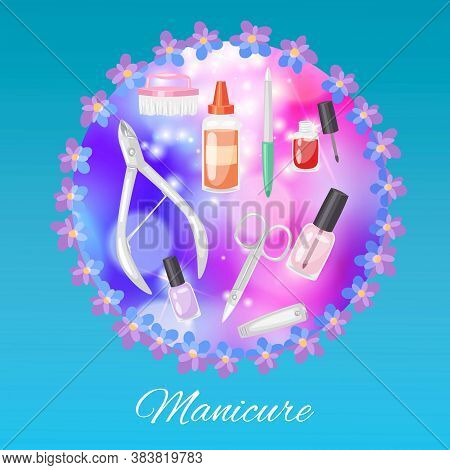 Manicure Background, Fashion Beauty, Glamor Beautiful Cosmetics, Pedicure Set, Salon Design, Cartoon