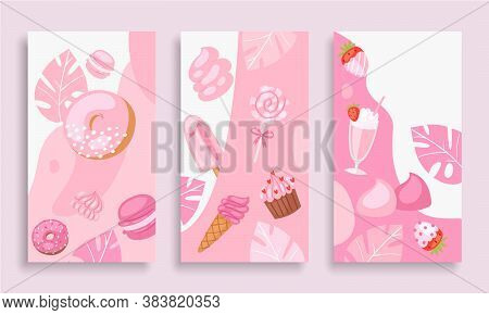 Pink Sweet Dessert Vector Illustration. Cartoon Flat Vertical Web Banner Set With Chocolate Cake, Ho