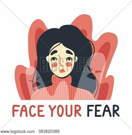 Face Your Fear, Phobia, Insomnia Concept. Frightened, Scared Young Woman Surrounded By Imaginary Gho