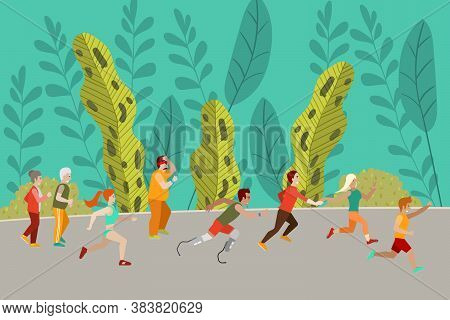 People Running In Forest, Running In Nature, Sporting Lifestyle, Healthy Running For Elderly, Design