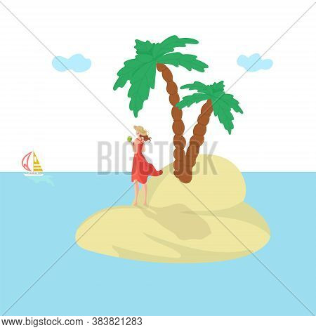Island Woman, Vacation Summer, Sun, Attractive Sea Vacation, Holiday Dedicate Travel, Design, Cartoo