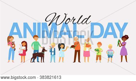 World Animal Day, Banner Inscription, Peoples And Pets, Uppercase Letters, Happy Young Girl, Design