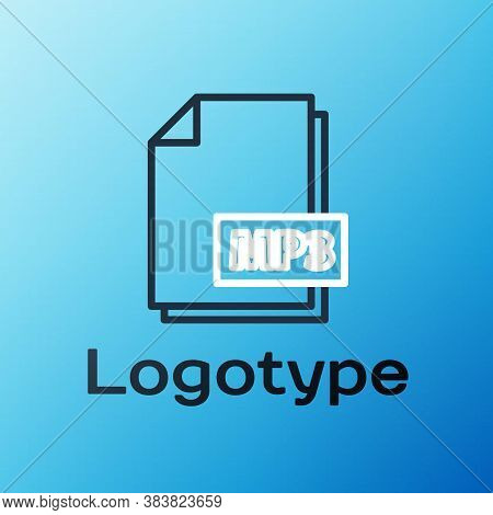 Line Mp3 File Document. Download Mp3 Button Icon Isolated On Blue Background. Mp3 Music Format Sign.
