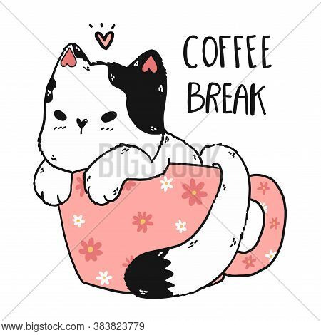 Cute White Cat In Daisy Pink Cup Of Coffee,  Coffee Break,  Adorable Doodle Kitty Clip Art, Flat Vec