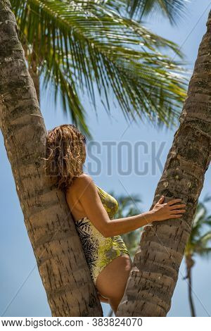 Woman at the beach in Sentosa Singapore