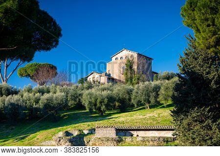 Ruins of the Tempio di Eliogabalo in ancient Rome, Italy