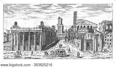 Ruin of the Temple of Antoninus and Faustina and the Temple of Romulus on the Roman Forum, vintage engraving.