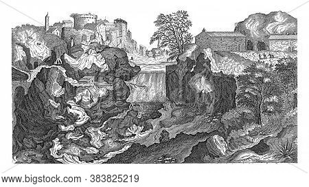 View of the Tiber near Tivoli, In the middle of the landscape a waterfall. Left Tivoli, vintage engraving.