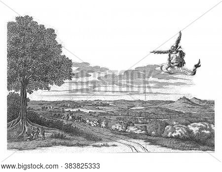 The conquest of Porto Calvo from the Portuguese, March 13, 1637. Above a flying banderole with the title. In the caption the explanation of the letters A-I in Latin, vintage engraving.