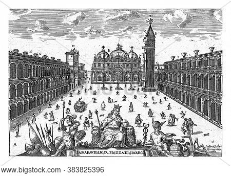 St Mark's Square in Venice, anonymous, 1600 - 1699 Activity on St Mark's Square in Venice, vintage engraving.