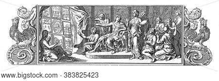 Apollo, surrounded by the muses, points to a polyptych with different representations, vintage engraving.