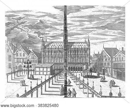 Grote Markt with hall of honor in front of the town hall, on the left a stage, on the right a model of a ship, vintage engraving.