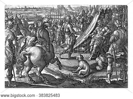 Giovanni de Medici, nicknamed' dalle Bande Nere 'for Frans I appears in an army camp. Giovanni turned away from the house of Habsburg and joined the service of the French king, vintage engraving.