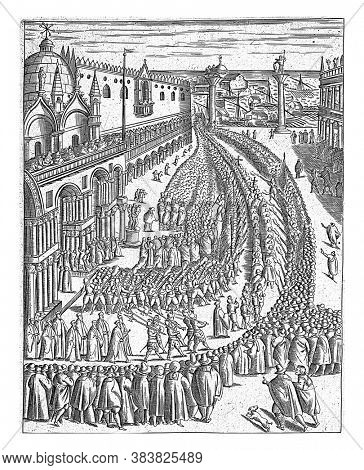 Procession from San Marco on the Piazzetta (the part of Piazza San Marco between the Doge's Palace and the Biblioteca Marciana), vintage engraving.