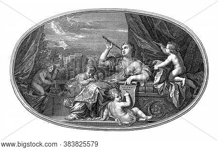 Ceiling piece with the personification of Zichtkunde. She looks at the sky through a stargazer, vintage engraving.