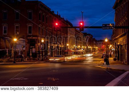 NORWALK,CT, USA-SEPTEMBER 3, 2020: Early morning at Washington Street with street and traffic lights