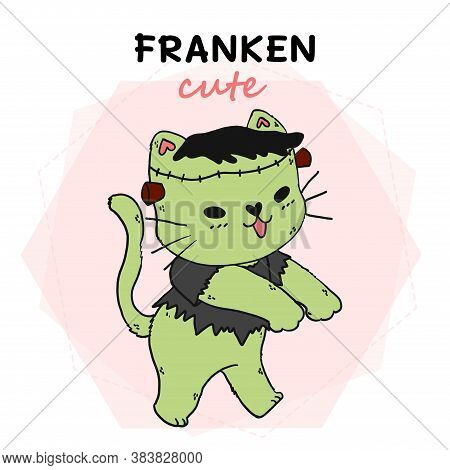 Cute Cat Green Funny Halloween, Franken Cute, Idea For Sublimation, Print, Greeting Card, Sticker