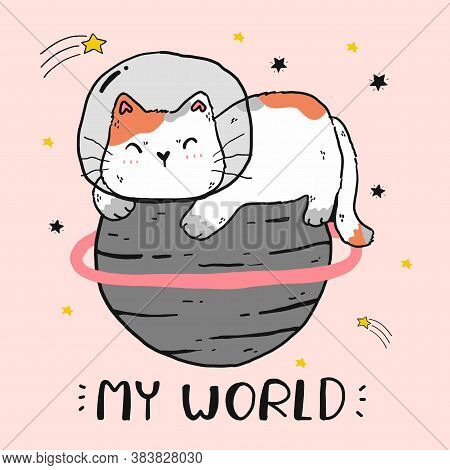 Cute Fat Cat Sit On The World, Cat World, My World, Funny Cat Clip Art For Sticker, Sublimation, Gre