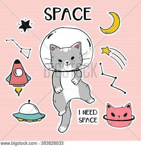 Cute Happy Cat Astronaut In Galaxy Sticker Set, Gray Cat In Helmet  Fly, Idea For Sublimation, Cut F