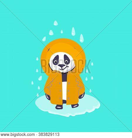 Panda In Yelow Costume Under The Rain. Digital