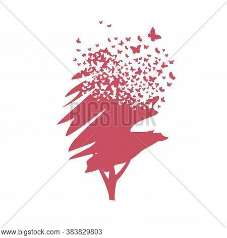 A Tree With The Effect Of Destruction. Dispersion. Butterfly, Moth.