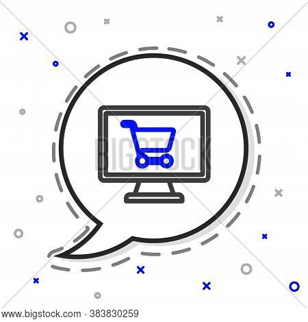 Line Shopping Cart On Screen Computer Icon Isolated On White Background. Concept E-commerce, E-busin