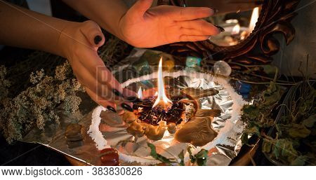 Candle For Cleansing A Person, Magic Rituals And Wax Casting, Energy Cleansing. Altar Of Modern Witc