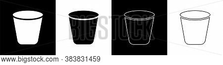 Set Trash Can Icon Isolated On Black And White Background. Garbage Bin Sign. Recycle Basket Icon. Of