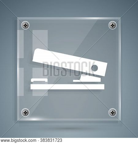 White Office Stapler Icon Isolated On Grey Background. Stapler, Staple, Paper, Cardboard, Office Equ