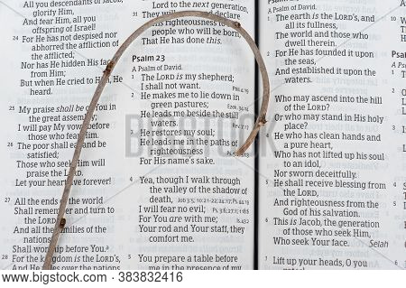 Fuji City, Shizuoka-ken, Japan - May 9, 2020: Holy Bible Opened In Psalm 23 Of David With Small Wood