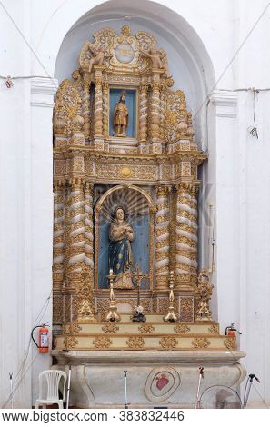 OLD GOA, INDIA - FEBRUARY 18, 2020: Altar of Our Lady of Sorrows in the Se Cathedral dedicated to Catherine of Alexandria, Old Goa, Goa, India