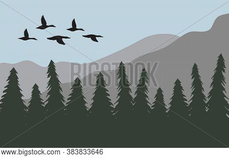 Vector Duck Flock Silhouette Isolated On Flat Cartoon Landscape With Spruce Tree Forest And Mountain
