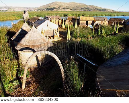 Floating Islands Uros On Lake Titicaca In Andes, Peru And Bolivia