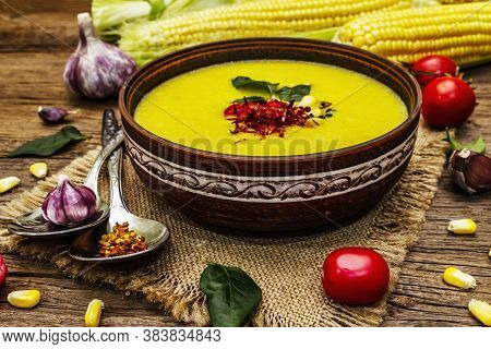 Corn Cream Soup With Fresh Vegetables, Herbs And Spices