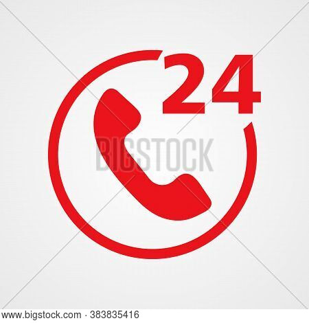 24h Support Red Icon, Vector Illustration Simple Design