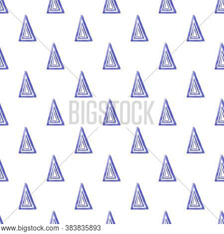 Seamless Ethnic Tribal Watercolor Pattern From Blue Hand Drawn Triangles On White Background. Folk M