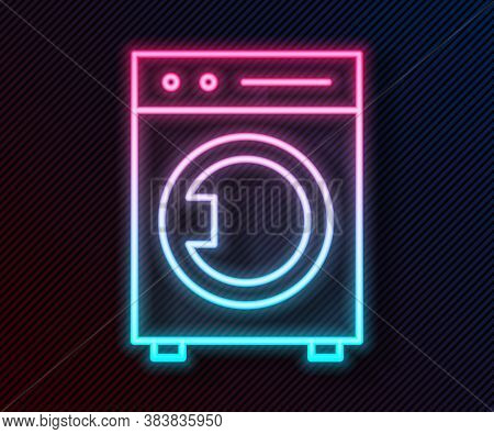 Glowing Neon Line Washer Icon Isolated On Black Background. Washing Machine Icon. Clothes Washer - L