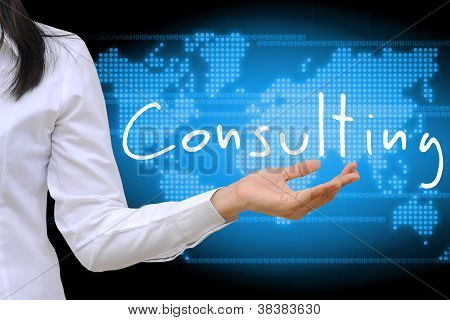 working women hand holding consulting