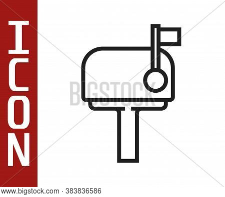 Black Line Mail Box Icon Isolated On White Background. Mailbox Icon. Mail Postbox On Pole With Flag.