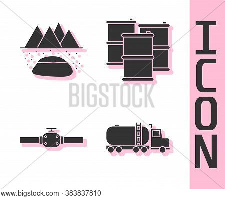 Set Tanker Truck, Oilfield, Industry Pipes And Valve And Barrel Oil Icon. Vector
