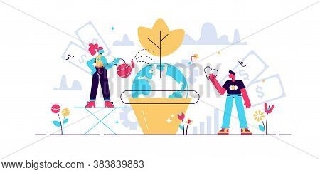 Business Social Responsibility Vector Illustration. Flat Tiny Ethical And Honest Persons Concept. Sy