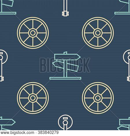 Set Line Banjo, Old Wooden Wheel And Road Traffic Signpost On Seamless Pattern. Vector