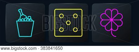 Set Line Champagne In An Ice Bucket, Casino Slot Machine With Clover And Game Dice. Black Square But