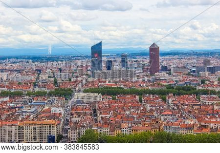 Lyon, France - August 3, 2019: Lyon, France - Aerial View Of The City Skyline