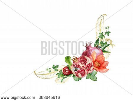 Pomegranate Fruit And Flower Arrangement With Golden Leaf Decor. Hand Drawn Floral Watercolor Illust