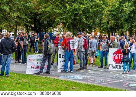 Hague, Netherlands 04 September 2020,  Protesters With Text On Banners Expressing Fear For Freedom O