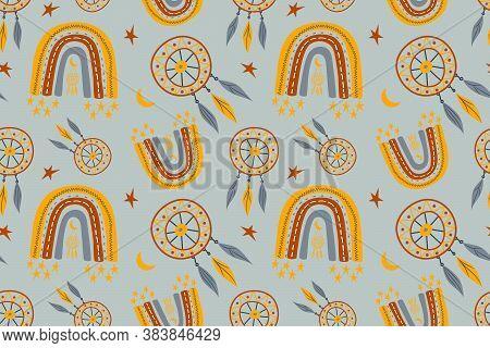 Seamless Childish Pattern With Trendy Rainbows And Dream Catchers. Creative Scandinavian Kids Textur