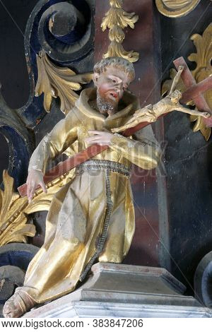 TABORSKO, CROATIA - SEPTEMBER 04, 2012: Statue of saint on the altar of Saint Francis Xavier at the Church of the Assumption of the Virgin Mary in Taborsko, Croatia
