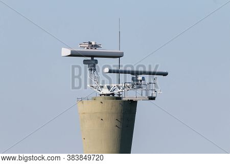 Coastal Surveillance Radar System. Two Marine Radars On Tower