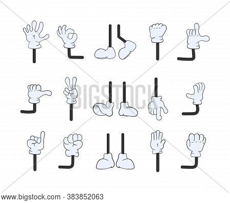 Set Of Cartoon Arms Isolated On A White Background. Cartoon Legs And Hands Collection. Feet And Glov
